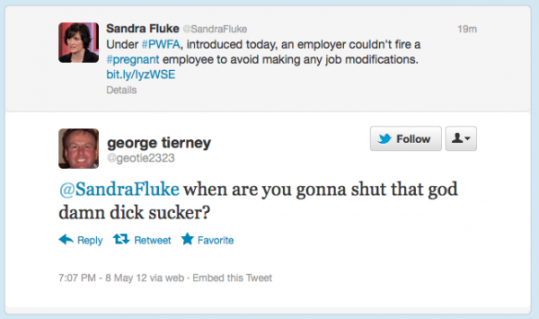 "George Tierney of Greenville South Carolina acts like an assclown when Sandra Fluke went on Twitter, then cried about people ""quoting him""."